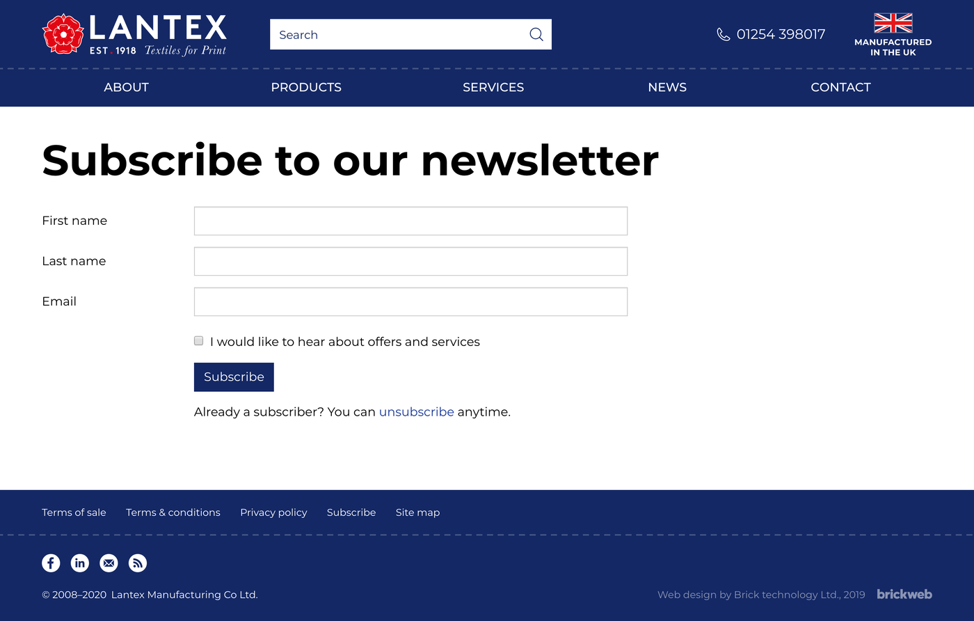 Lantex Subscribe to our newsletter